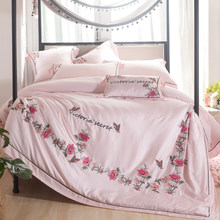 New Summer 4/7pcs Soft Luxury tencel pink flowers embroidery Double king Bedding sets queen Duvet cover Flat sheet Pillowcase(China)