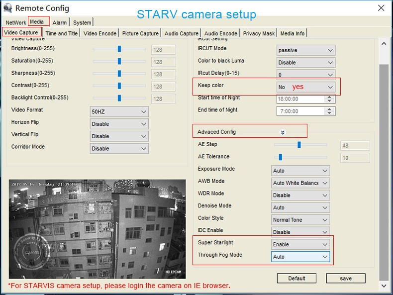 STARVIS setup