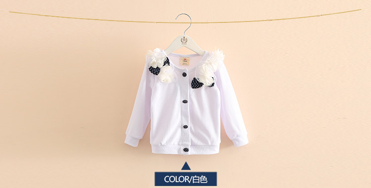 2018 Spring and Autumn Bow Decoration Baby Child Girl Lace Patchwork Pure White and Blue Long-Sleeve Cardigan Top Outerwear (7)
