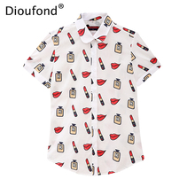 Dioufond Summer Short Sleeve Lips Print Women Blouse Shirt Floral White Navy Shirts Top Blusas 2017 New Plus Size S-5XL