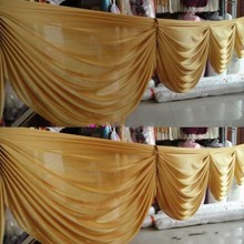6 M long Gold ice silk curtain swags for wedding backdrops wedding party event decoration supplies(China)