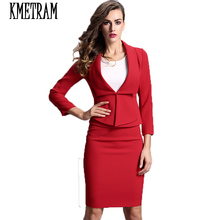 2017 red women's suits spring office uniform designs women elegant skirt suits full sleeve slim women cotton blazer set JCY012(China)