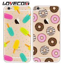 Ultra Slim Transapent Donuts ice cream Phone Cases For iPhone 5 5S SE 6 6S 7 Plus Women Cute Mobile Phone Cover