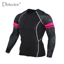 Mens Compression Shirts Bodybuilding Skin Tight Long Sleeves Jerseys Clothings MMA Crossfit Exercise Workout Fitness Sportswear(China)