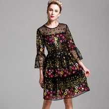 Mini Retro Dresses Gothic Half Flare Sleeve Women Summer 2017 Embroidery & Sequined Patchwork Slim Luxury Mesh Topshop Dress