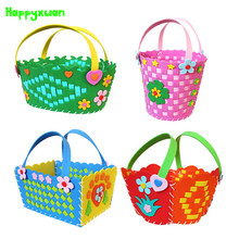 Happyxuan Cute DIY Handmade Knitted Basket Eva Craft Kindergarten Toys for Kids Birthday Party Gift Series HQ4(China)