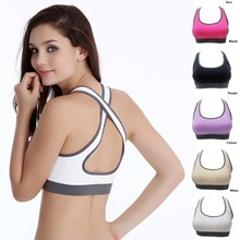 Hot Selling ! Multicolors ! Women Padded Top Athletic Vest Gym Fitness Sports Bra Stretch Cotton Seamless popular(China)
