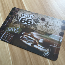 "wall pictures Metal tin signs  "" route road and classic car ""  Retro decoration House Cafe bar Vintage Metal plaque  20X30 CM"