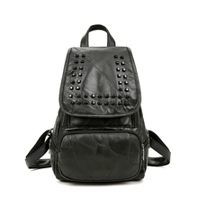 Genuine Leather Luxury Women Backpack Travel School Bags For Teenage Girls Small Laptop Backpack Rivet Casual Daypacks mochilas(China)