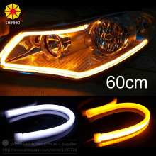 2PCS 60CM White+Yellow Amber Red Blue LED Daytime Daylight Running Light Tube Flexible LED Strip DRL Switchback Headlight Lamp