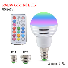 E14 E27 Led Dimmable RGBW Led Bulbs 5W 85-265V 110V 220V Colorful RGB Led Lamp Chandeliers Led Light + 21 Key Remote Controller