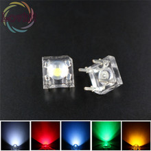 500 X 5mm Piranha Super Flux LED=100 EACH Red Green Blue White Yellow Leds kit 4 Pin Dome Wide Angle Light Lamp For Car Light