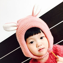 Cute Children's Helmet Winter Cap Girls Cute Ear Knitted Hats Crochet Knitted Kids Ear Protect Warm Caps Infant Hats(China)