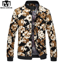 MIACAWOR New Fashion Men's Jacket Flower Print Bomber Jacket Autumn Jaqueta masculino Casual Male Clothing Size 5XL 6XL MJ409