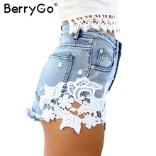 BerryGo Summer 2016 ripped pocket high waist women casual shorts Sexy lace blue denim shorts Vintage jeans girl hot shorts(China)