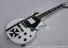 High quality E Custom Shop White Electric Guitar ebony straight Iron Cross inlaid Real Photo Free Shipping custom guitar