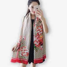 Luxury Brand Scarf high quality Print Flowers Silk scarf autumn winter Large Size women fashion Beach pashmina Foulard femme(China)