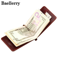 Leather Money Clips Men Wallets Coin Zipper Pocket Purse Money Bag Clamp For Money Card Slots Magnet Hasp Clips MWS029(China)