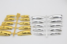 20PCS Nail Art Full Cover False French Nail Tips Silver+Gold Color Metal Fake Nails Extension Decorated Manicure Accessories