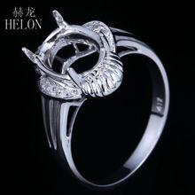 HELON Oval 9x7mm Engagement & Wedding Semi Mount Pave Natural Diamonds Ring Solid 10K White Gold Fine Ring For Women's Jewelry(China)