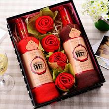 Wine bottle shape present box wedding Favor business promotional birthday Full Moon Gifts face cake towel Superfine fiber