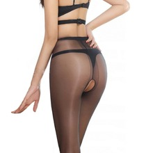 Sexy Micro Shiny Pantyhose T File Open Crotch Women Tights Slim Toe Transparent Medias Temptation Hosiery(China)