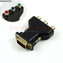 Adapter Connect 15 Pin VGA Male to 3 RCA Female M/F Adapter Connecter Converter Black M126 hot sale(China)