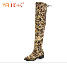 Buy 34-43 Leopard Knee Boots Heel Winter Boots Women Knee High Boots Winter Shoes Women for $27.11 in AliExpress store