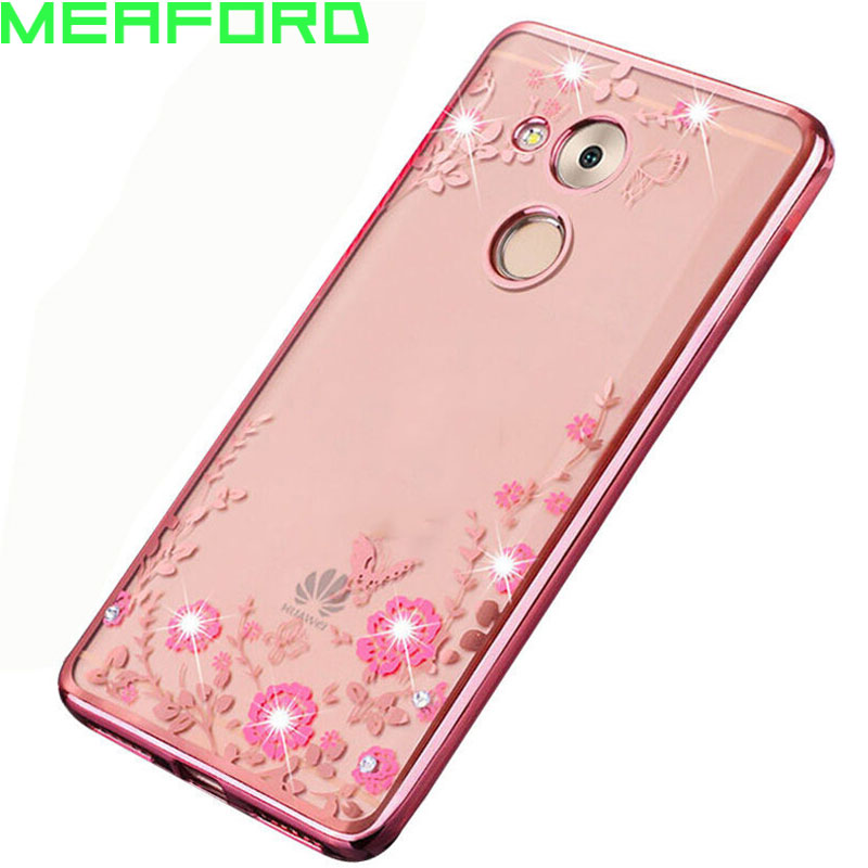 Huawei Honor 6C Pro Case Silicone Flowers Bling Diamond Clear Soft TPU Back Cover Honor 6C Pro Huawei JMM-L22 Phone Case