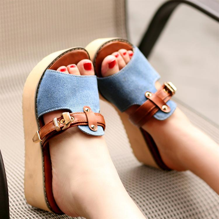 2015 New Styles Women Sandals And Slippers Flip Flop Fashion Platform Beach Slippers Wedeges High Heels Shoes Big Size 40-43<br><br>Aliexpress