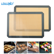 Non-Stick Silicone Baking Mat For Cake Cookie Baking Pastry Tool BPA Free Fiber Rolling Dough Mat Baking Liner For Kitchen BK053(China)