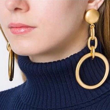 Vintage Gold Color Big Circle Drop Earrings for Women Steampunk Ear Clip Party Jewelry Accessories Gift
