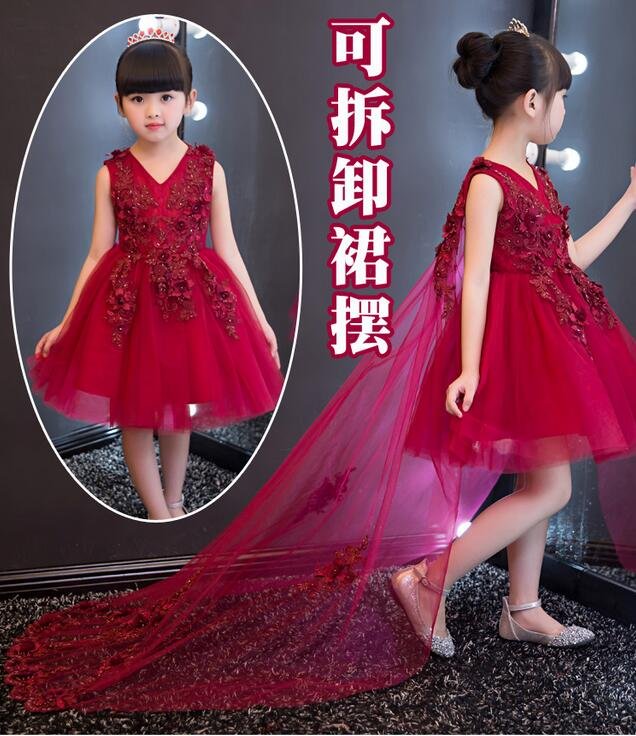 2017 Christmas Baby Girls Party Red Dress Evening Wear Long Tail Girls Clothes Elegant Flower Girl Dress Kids Baby Dresses 1-12T<br>