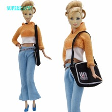 5 in 1 Fashion Outfit Coat White Waistcoat Trousers Blue Pants Trousers Handbag Shoes Clothes For Barbie Doll Accessories Gifts