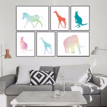 Fashion Starry Animal Pattern Elephant Giraffe Painting Poster Print Wall Art Picture Gallery Home Decor Canvas Painting