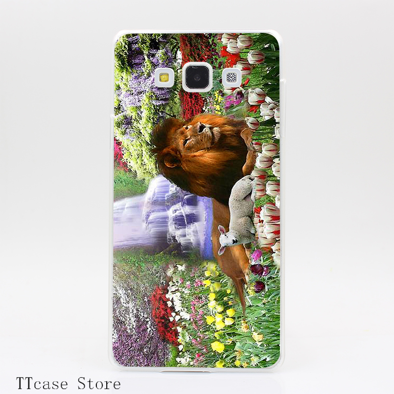 3596CA The Lion and the Lamb Transparent Hard Cover font b Case b font for Galaxy