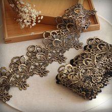 Бесплатная доставка 9.5 см wide-3yards/lot викторианской Античное золото Вышивка Кружево отделкой металлик золота для невесты, свадебное платье.(China)