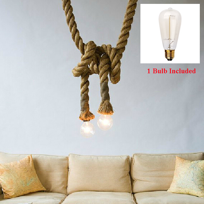 Vintage Rope Pendant Light Lamp Loft Creative Personality Industrial Lamp Edison Bulb American Style For Living Room with bulb<br>