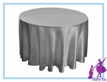 15pcs 90'' Satin round wedding tablecloth in grey for party