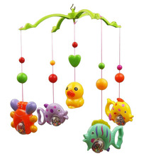 Music Bed Bell Set Funny Fish Crab and Duck Baby Crib Mobile Music Bed Bell Educational Toy (Random Color)(China)