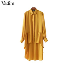 Vadim vintage asymetrical yellow long shirts pleated long sleeve turn down collar blouses ladies autumn tops blusas LT2233(China)