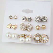 9 pairs/lot Fashion Women Girls Simulated-pearls Rhinestones Earrings Set Heart Bow Flower Ball Shape Elegant Stud Earrings
