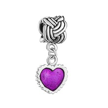 LeoBon Serrate Edge Heart Charm Bracelet Purple Drip Gum Dangle Beads Fit Pandora Bracelet