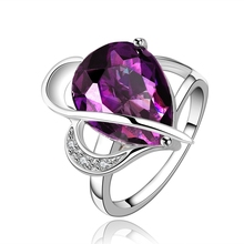 fashoin purple finger ring austrian crystal aneis femininos anillos anel platinum plated womens rings bague femme bijoux JZ5100