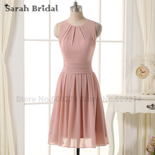 robe corail Dress Blush Chiffon Short Bridesmaid Dress with Pleats 2016 Cheap Knee Length Bridesmaid Dresses Wedding Party SD331