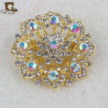 Turban hat acessory  Inspired Clear Crystal Floral Corsage Brooch In Antique Gold Metal