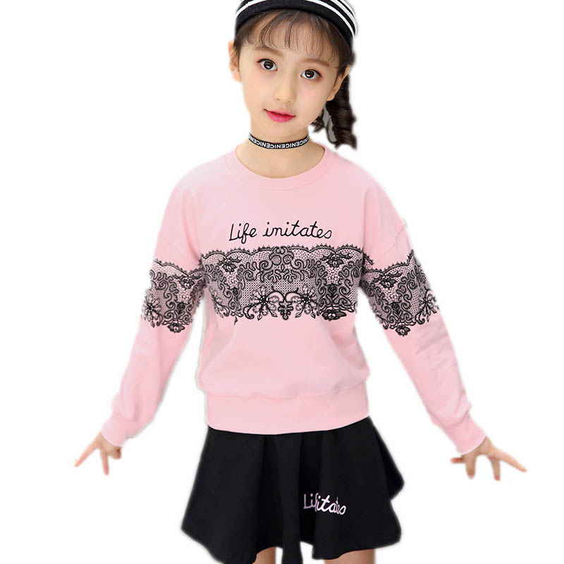 children clothing 2018 new spirng girls clothes sets top letter printed hoodies+pleated skirt 2 piece suit sets girls tacksuits <br>