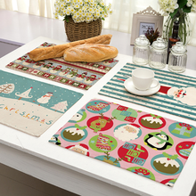 Hot 1pc Cheap Printing Cotton Linen Pad Western Placemats Christmas Pattern Table Mate Home Decor Party Supplies 2017