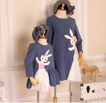 mother and daughter dress original design Cute rabbit dress Family matching clothes(China)