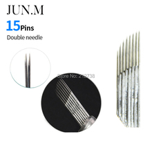 500 pcs 15Pin Double Row Permanent Makeup Eyebrow Tatoo Blade Microblading Needles for 3D Embroidery Manual Tattoo Pen Fog Eyebr(China)